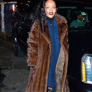 Jackets & Blazers - Natural Mahogany Corduroy Brown Mink Fur Coat